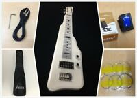 Haze Solid White Poplar Body Electric LAP Steel Guitar,Gloss White+Free Gig Bag