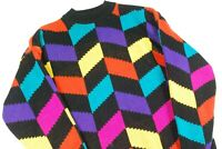 Vintage Color Block Rainbow Crewneck Sweater Bold Geometric Jumper Womens M