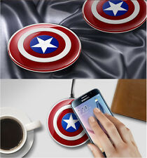 NEW QI Wireless Charger Pad For Samsung Galaxy S6, S7, S7 Edge-Captain America