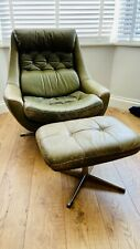 More details for vintage mid century green leather swivel chair & footstool (possibly h w klein)