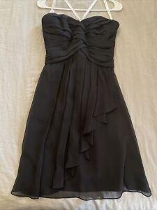 Davids Bridal Black Chiffon Bridesmaid Dress. Worn Once. Size 4.
