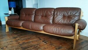 Vintage Danish Mid Century Three Seater Leather Sofa Ash Frame - Delivery / VGC
