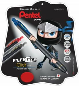 Pentel EnerGel Click BL 437R, Metal Tip, Liquid Ink Roller Pen, Blue - Set of 6