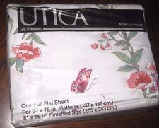 NIP Vintage Pink Butterfly Floral FULL Size Flat Bed Sheet Made in USA by Utica