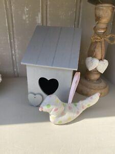 Grey Wooden Bird House With Cath Kidston Hanging Bird