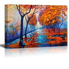 """Original Oil Painting Showing Autumn Park with Empty Benches - CVS - 16"""" x 24"""""""