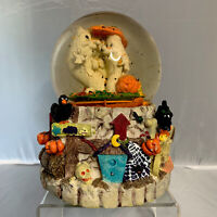 Vintage Sankyo Music Snow Globe Halloween Ghosts Ravens Crows Black Cat Pumpkins
