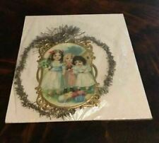 Vintage Antique Victorian Scrap Tinsel Christmas Ornament 3 Young Girls & Chick
