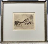 Radierung Landschaft mit Pferd Reiter vor Ruine Alexander Eckener (1870-1944)