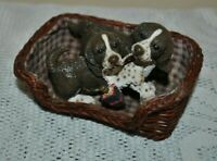 Vtg Living Stone Realistic Figurine Springer Spaniel Playing Puppies in Basket