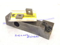 "USED KENNAMETAL 1.25"" Shank DCLNL 206D TURNING TOOL HOLDER WITH 5PCS. INSERTS"