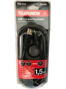 1,5m USB 3.0 Anschlusskabel A/B Kabel Daten Druckerkabel Festplatten 5GBit/s