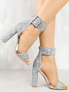 Lady Sandals Stylish Sequin Open Toe Chunky Heeled Sandals