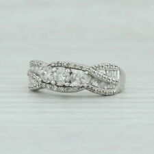 0.87ctw Diamond Engagement Ring 10k White Gold Size 8.75 Woven Pave 3 Stone