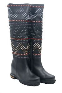 LucyToni UK Designed Black Leather Full Length Boots with Colored Stud Design