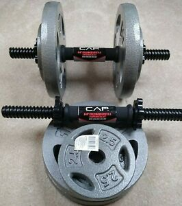 CAP 10 lb and 2.5 lb Weight Plate & Dumbbell Handle Set (50 lb total) SHIPS FREE