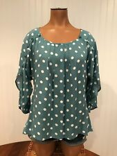 Maeve Anthropologie Polka Dot 3/4 Sleeve Top Blouse Blue White Size XS