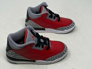 Jordan 3 Retro SE (PS)  Fire Red Cement Grey CQ0487-600 Sz 2Y NO BOX TOP