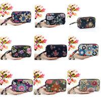 Women Canvas Floral Wallet 3 - Layer Zipper Large Capacity Clutch Purse Coin Bag