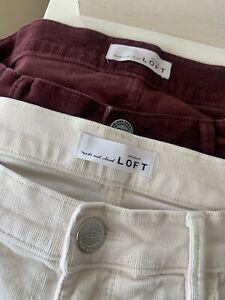 Ann Taylor Loft Size 27 / 4 Modern Skinny Corduroy Pants Burgundy And Cream
