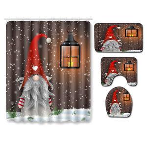 Happy Snowman Cute Sprite Shower Curtain Winter Holiday Merry Christmas Bath Mat