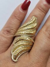Big long 14k yellow gold ring size 8 womans