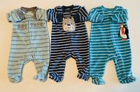 3 Carters Boys Newborn Infant Footed Fleece Sleepers Zipper Little Brother Lot