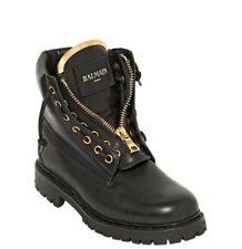 Authentic Balmain Taiga Ranger Black Leather Boots Size EU 40 US 9