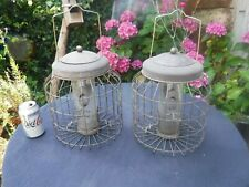 Pair of Large Vintage Metal Squirrel Resistant Bird Feeders