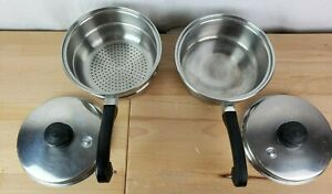 4Pc Saladmaster 18-8 Tri Clad Stainless 1 Qt Saucepan & Strainer with Vapo Lid