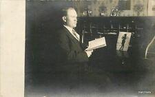 C-1910 Man Roll Top Desk interior Blue Label Beer Book RPPC postcard 5963