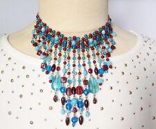 Collier de perles de verre rétro déco pampille couleur bleuet grenat 3526
