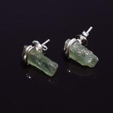 925 Sterling Silver Stud Earrings, Raw Green Kyanite Handcrafted Jewelry RSSE39