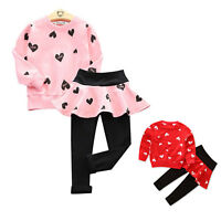 2PCS Toddler Kids Baby Girls Outfits Clothes T-shirt Tops+Long Pants Dress Sets