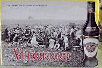 Ancienne Plaque Métal Publicitaire PLV Cassis Bourgogne Védrenne 40 x 60 cm