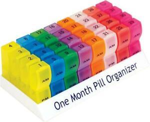 One Month Pill Tablet Container Box 31 Day Organiser 64 Compartments AM PM
