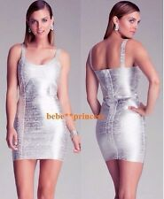 $160 NWT bebe white silver straps curve neck foiled bandage top dress S small
