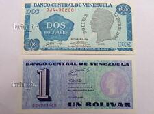 2x banknotes Venezuela dos Bolivares 1989 bj4496288 Paper Money/papel moneda