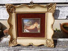 Ancienne miniature peinture femme nue enfant chien rapace ...