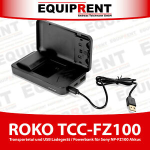 ROKO TCC-FZ100 Transportetui USB Ladegerät für Sony NP-FZ100 und Powerbank EQU16