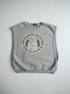 Vintage 80s Paris Uni Sorbonne Gray Sleeveless Faded Sweatshirt Grunge Size XS