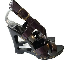 Womens Wedge Heel Sandals Size 5 Patent Leather Brown Ankle Strappy Cut Out