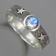 Fashion Star Moonstone Rings for Women 925 Silver Jewelry Party Ring Size 5-10