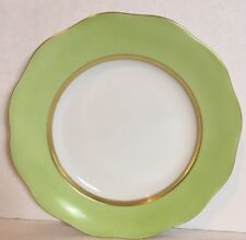 """Herend Silk Ribbon Lime 8"""" Dessert Plate Porcelain Hand Painted Gold Band New"""