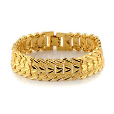 """Watch link Men Bracelet 18k Yellow Gold Filled GF 8""""chain 16mm Charms Jewelry"""