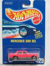 HOT WHEELS 1991 BLUE CARD MERCEDES 380 SEL PINK   #229