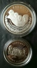 1991 Mount Rushmore Proof Silver Dollar and Clad Half Commemoratives