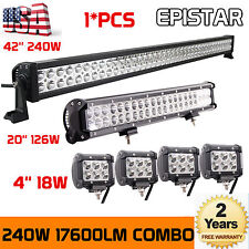 "42inch Led Light Bar Combo + 20in + 4x 4"" CREE Led Pods Off Road Truck Jeep Ford"