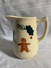 "Hartstone Pottery Christmas Gingerbread Men 36oz Milk Juice Pitcher 6"""