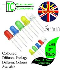 5mm Round Coloured Package LED Red, Orange, Blue, Yellow, Green (10 pack)